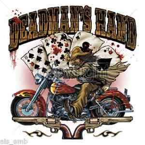 Dead Man Hand Motorcycle HEAT PRESS TRANSFER for T Shirt Sweatshirt Fabric 049e