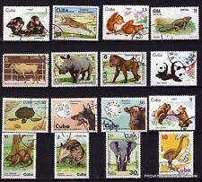 85T3 Pays des caraîbes  16 timbres obliteres: animaux de tous les continents