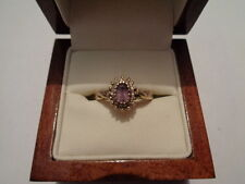 9ct yellow gold diamond & amethyst cluster ring size M