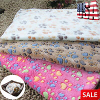 Warm Cat Dog Puppy Pet Mat Small Large Paw Print Fleece Soft Blanket Bed Cushion