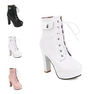 10.5 CM Block High Heel Platform Punk Women Ankle Boots Lace Ups Outdoor 34-43 D