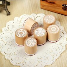 6Pcs Useful Vintage Style DIY Set Wooden Rubber Stamp stamper Scrapbooking Seal