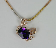 14k ROSE GOLD BRIGHT RICH AMETHYST WHITE DIAMOND CRAB TROPICAL NATURE PENDANT