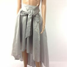 Venus F14 Womens Skirt Satin Pleated With Sash Maxi High Low Gray Size 6 Belted