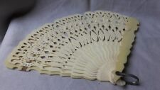 Antique Hand Fan Celluloid Open Work Ribbon Excellent Condition