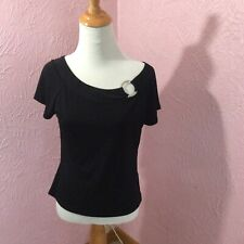 George Stretch Womens Knit Top Size M 8/10 Juniors Black Short Sleeve