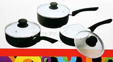 PRO 3pc Ceramic Cookware Set Saucepan Pot With Lids Frying Induction Pan Black