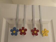 4 Over The Door Metal Kid Child Room Hooks Flowers