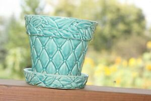 McCoy Pottery Quilted Design Green Planter with Attached Saucer