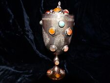 """Antique Middle Eastern sterling silver covered cup goblet 6.2"""" precious stones"""