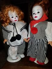 Rare Gotz Evil Clown Harlequin Pepita Dolls lot With Stands Made in Germany
