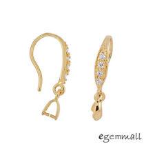 Gold Plated Sterling Silver CZ French Earring Hook Ear Wire w/ Pinch Bail #99514