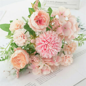 7 Heads Artificial Silk Flowers Fake Rose Peony Bouquet Home Wedding Party Decor