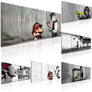 BANKSY STREET ART MARIO AND COP Wandbilder xxl Bilder Vlies Leinwandi-C-0104-b-m