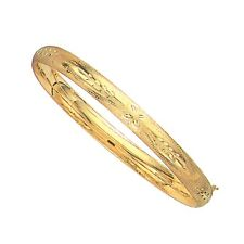 "14K Real Yellow Gold Engraved Hinged Bangle Bracelet 7"" 6mm"
