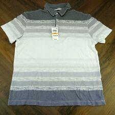 Men Alfani White & Gray Striped Small Short Sleeve Polo Shirt AA04-001 New