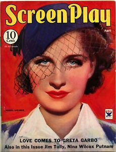 SCREENPLAY Magazine • April 1934 • NORMA SHEARER Cover