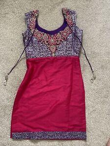 Salwar Kameez Trouser Suit Asian Indian Pink Purple