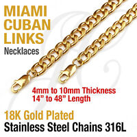 """18K Gold Plated Stainless Steel 316L Miami Cuban Curb Link Chain Necklace 14-48"""""""