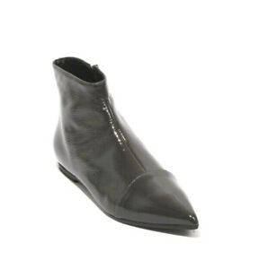 Cristina Elle DIEGO Gray Patent Leather Zip Pointy Ankle Flat Boot 38 / US 8
