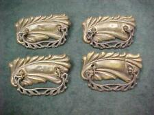 4 ANTIQUE VICTORIAN BRASS DRAWER PULLS FANCY CAST IRON BAILS  LARGE BOLD