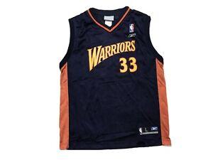 Golden State Warriors Basketball Jersey Boys Large Antawn Jamison Reebok 33 Nba
