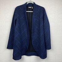 LOGO Womens Jacquard Jacket Small Pockets Blue Open Front Lori Goldstein A2