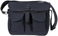 Black 2 Pocket Canvas Military Ammo Carry Shoulder Bag