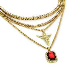 "Set 24"" 30"" Rope & 20"" 24"" Tennis 14k Gold Plated High Fashion Mini Angel & Ruby"