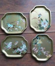 Set of 4 Vintage Metal Elite Snack Trays Made in England Asian Bird Patterns