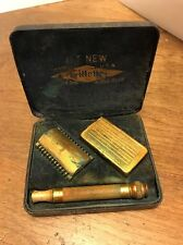 VINTAGE Gold Colored Gillette Old Type 3 Pc. Double Edge Safety Razor in Box Set