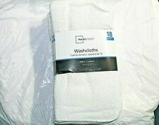"""18 Pack Mainstay Washcloth 100% Cotton 11"""" x 11"""" White Face Wash Cloth"""