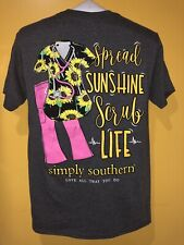 Simply Southern Women's T shirt Short Sleeve Color Grey Size Small Preppy SCRUB