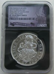 NGC PF70 Great Britain UK 2017 Queen's Beasts Unicorn Scotland Silver Coin 1oz