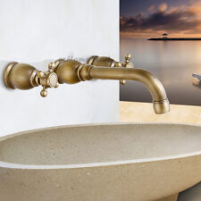 Retro Double Knobs Handle Wall Mounted Bathroom Sink Faucet 3PCS Basin Mixer Tap