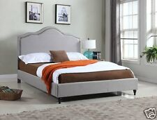 GREY Fabric Cloth QUEEN Scalloped Platform Bed Frame & Slats Modern Home Bedroom