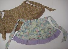 Vintage Lot of 2 Ruffled Half Aprons Brown & Lavender Calico Prints