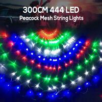 300cm 444 LEDs Peacock Net Mesh Fairy String Lights Outdoor Curtain Lamp