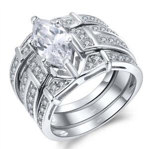 Trio Sterling Silver Women's Wedding Ring Set  Marquise CZ Cut Size 5-11 3 PCS