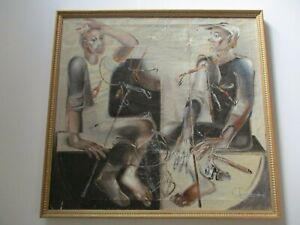 LARGE RUSSIAN PAINTING SIGNED MODERNIST PORTRAIT FISHERMAN FISHING EXPRESSIONISM