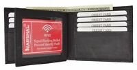 RFID Blocking Security Mens Bifold Card Id Credit Flap Leather Wallet Black