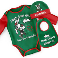 South Sydney Rabbitohs NRL 3 PC Infant Gift Set With Bodysuit, Beanie & Bib Size