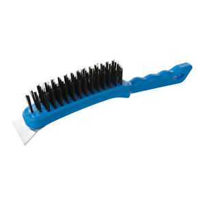 280mm 5 Row Steel Wire Brush & Scraper - Rust Paint & Scale Removal Hand Tool