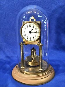 Antique Germany 400-Day Anniversary Clock With Disc Pendulum ,porcelain Dial