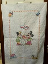 Vintage Disney Mickey Mouse Minnie Pluto Cross Stitched Quilted Crib Blanket