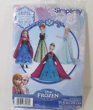 "Simplicity Disney Frozen 11.5"" Fashion Doll Clothing Elsa and Anna M0734 Uncut"