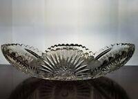 "AMERICAN BRILLIANT Cut Glass 12""L x 5.5"" W CELERY Dish Folded Hobstar Sunburst"