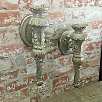Home Interiors Syroco Ornate Shabby Glam pair of wall sconces beautiful and bold