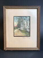 VINTAGE SIGNED WALLACE NUTTING HAND COLORED PHOTOGRAPH BIRCH TREES ROAD