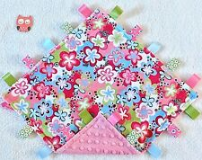 New listing Double Minky! Pink Blue Flowers & Pink Minky Tag Taggie Security Blanket, Baby